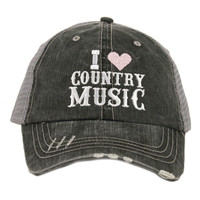 I Love Country Music Trucker Hat - 2 Colors
