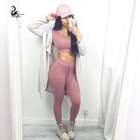 Two Piece Set Sexy Crop Top and Long Pencil Pants