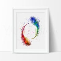 Feathers Watercolor Art Print