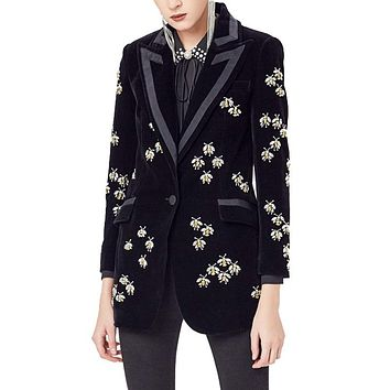 Black Beaded Luxury Velvet Blazers