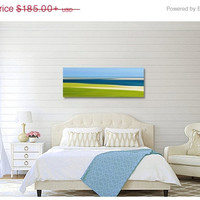 Beach Decor Panorama Canvas Gallery Wrap Oversized Print Abstract Marsh Large Wall Art Lime Green Navy Blue Beige Coastal Ocean Photography