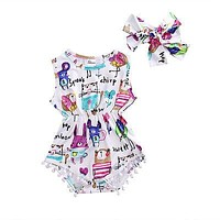 Sweet Infant Baby Girl Romper Headband Painting Tassel Jumpsuit +Headband Outfit