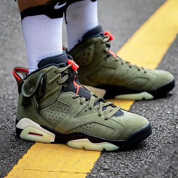 Air Jordan 6 x Travis Scott Fashion Men Casual Luminous Sport Basketball Shoes Sneakers Green