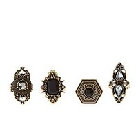 BURNISHED FILIGREE COCKTAIL RINGS - 4 PACK