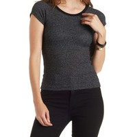 Charcoal Cropped Sweater Knit Ringer Tee by Charlotte Russe