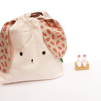 Misty rose/soft pink and floral Japanese style bunny rabbit lunch bento nursery bag