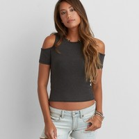 DON'T ASK WHY OPEN SHOULDER RIBBED T-SHIRT