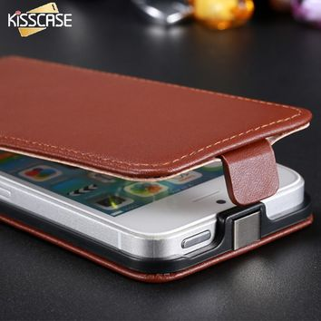 KISSCASE Luxury Leather Case For iPhone 5 5S 5G SE Cases Holster Retro Phone Accessories Flip Cover Pouch For Apple iPhone 5S SE