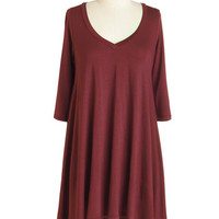 ModCloth Minimal Mid-length 3 Infinitely Fabulous Tunic in Burgundy