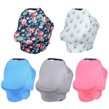 Baby Car Seat Cover Canopy Multi-Use Stretchy Infinity Scarf Breastfeeding Shopping Cart Stroller Nursing Cover Chair Cover