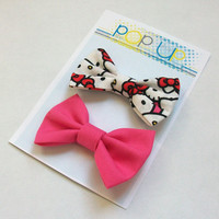 Hello Kitty Hair Bow Set / Hot Pink Hairbows / Bow Clips