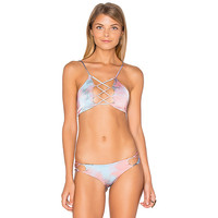 Hapa Tie Dye Lace Up Reversible Bikini Top in Saturn Tie Dye