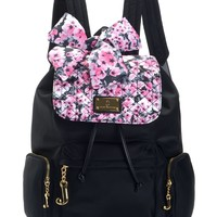 Black/Pink Floral Malibu Nylon Backpack by Juicy Couture, O/S