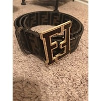 FENDI Mens FF Brown College Leather Belt 32-36