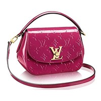 Louis Vuitton Monogram Vernis Pasadena Cross Body Handbag Article: M90943 Magenta Made in France