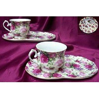 4 Piece Porcelain Tea or Coffee Snack Set in Gift Box Pink Roses and Lilacs on White Chintz