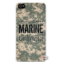 Proud Marine Girlfriend United States USA Camo iPhone 5 Quality Hard Snap On Case for iPhone 5/5s - AT&T Sprint Verizon - White Case