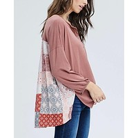 Henley Knit Top with Contrast Printed Back in Mauve