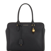 Calfskin Padlock Satchel Bag, Black