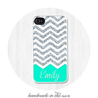 iPhone Case, iPhone 5, iPhone 5S, iPhone 5C, Personalized Silver Glitter Print with Mint Green Name Monogram, iPhone Cover, Phone Case (367)