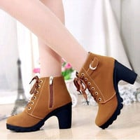 Women Platform High Heel Single Shoes Vintage Women Motorcycle Boots Martin Boots = 1946570180