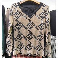 Fendi Fashion New Diamond More Letter Long Sleeve Top Women Khaki