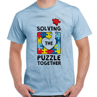 Autism Awareness Shirt Solving The Puzzle Together Autism T Shirt Puzzle Piece Autism Support Gifts Charity T Shirt Mens Ladies Tee DN-458