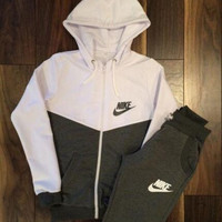 "2016 ""NIKE"" Fashion Hooded Cotton Patchwork Stylish Sports Sportswear Set"