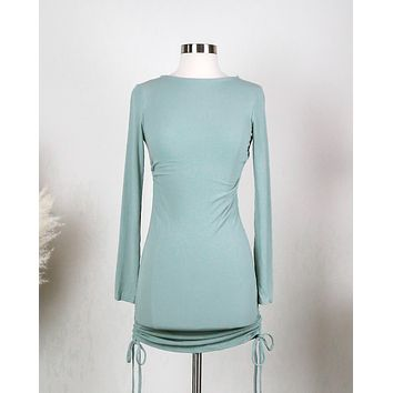 Ruched Long Sleeve Ribbed Dress in Sage