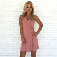 Southern Comfort Wrap Dress in Pink