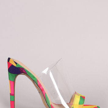 Liliana Multicolor Geometric Print Lucite Stiletto Heel