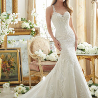 Mori Lee 2876 Embroidered Lace Fit & Flare Wedding Dress – Off White by Bridal Expressions