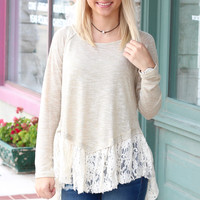 Lace Split Black Long Sleeve Knit {Taupe}
