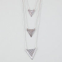 Full Tilt 3 Row Triangle Necklace Silver One Size For Women 25577014001