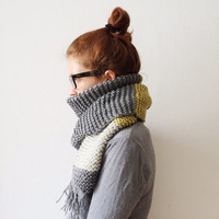 Large Color Block Scarf, Chunky Knitted Scarf, Winter Fashion, Gift for her