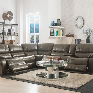 Acme 53510 6 pc Brax taupe leather gel sectional sofa with power recliners
