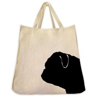 Pug Silhouette Extra Large Eco Friendly Reusable Cotton Canvas Tote Bag