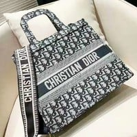 Dior fashion casual ladies large-capacity embroidery shopping bag portable shopping bag portable Messenger bag