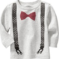 Bow-Tie & Suspenders Graphic Tees for Baby