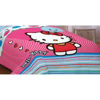 Hello Kitty Twin-Full Bed Comforter Colorful Hearts Blanket