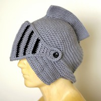 Handmade Knight hat helmet with removable face guard on the redditgifts Marketplace
