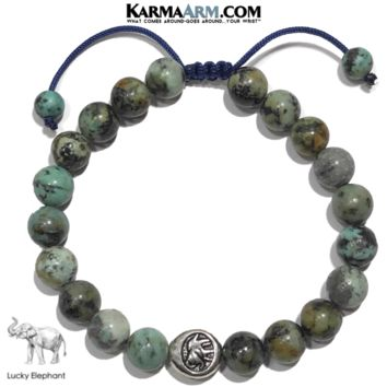 GET LUCKY   African Turquoise   Elephant Pull Tie Bracelet