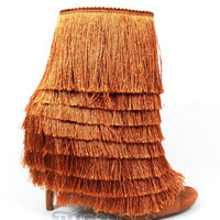 """Nelly Mambo Copper Fringe Open Toe Ankle Boot Booties - 4.75"""" Heels"""