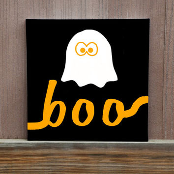 Ghost with Boo Text Hand Painted Canvas Wall Decor For Fall Halloween