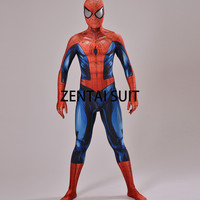 Ultimate Spiderman Costume 3D Shade Spandex Cosplay Halloween Spider-man Superhero Costume  Newest Fullbody Zentai Suit