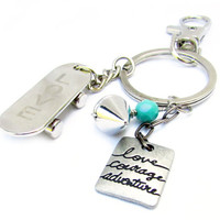 Skateboard Keychain, Quote Keychain, Car Accessory, Skateboarder Keychain, Teen Boy Gift, Father's Day Gift, Gift for Him