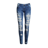 Womens Distressed Ripped Skinny Jeans