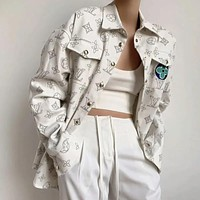 Louis Vuitton LV new three-color flower embroidery men and women full print loose shirt jacket coat couple