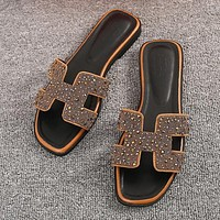 Hermes Women Fashion Leather Slipper Sandals Shoes