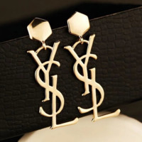YSL Women New fashion letter long earring accessories Golden